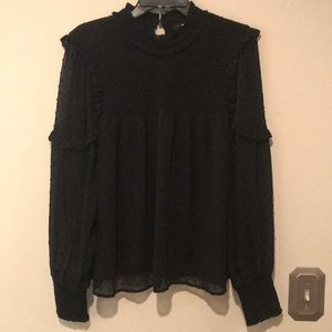 Halogen - Flouncy black mock neck blouse